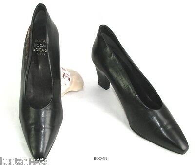 Bocage - Court Shoes Vintage Heel 7 Cm Black Leather 39 - Excellent Condition
