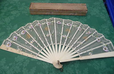 antique hand painted sequin lace fan original box display collectable