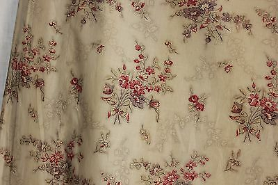 Antique French block printed chintz glazed fabric c1820