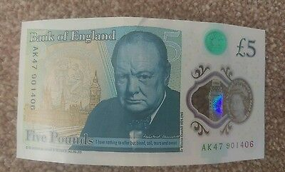 AK47 Bank of England Polymer £5 Five Pound Note Genuine New Note