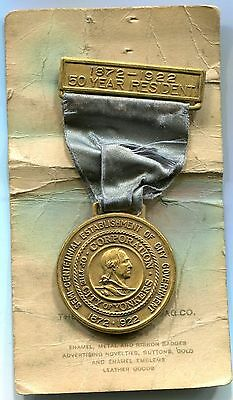 Vintage 1922 City of Yonkers New York NY 50 Year Resident Medal/Badge