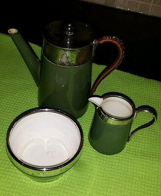 Antique Royal Worcester 1910, 3 piece Coffee Pot, Sugar and Creamer. No chips.