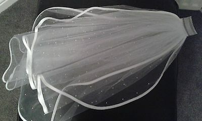 MINAS Deluxe Ivory Swarovski Pearl 2 Tier Elbow Length Bridal Veil + Comb
