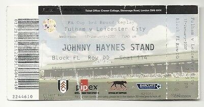FULHAM v LEICESTER CITY  17.01.07 F.A. CUP USED TICKET STUB