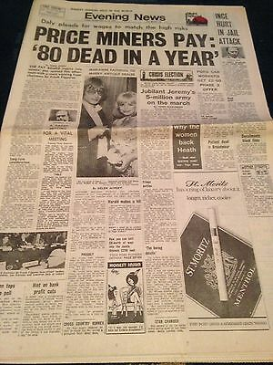 Vintage Evening News 18.2.74 Miners Pay Inquiry Opens