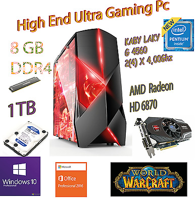 High end Gaming PC INTEL G4560 2(4)X4,0Ghz 8GB DDR4 1000GB HD 6870 WINDOWS10PRO