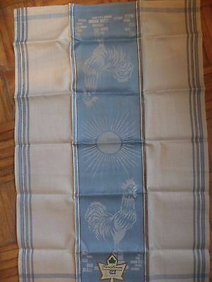New Vintage Pure Linen Tea Towel Dish Towel Rooster and Sun