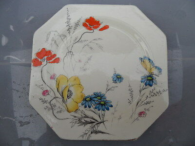 Paragon Vintage China   Pretty Flowers & Butterfly  16 cm    Octagonal Tea Plate