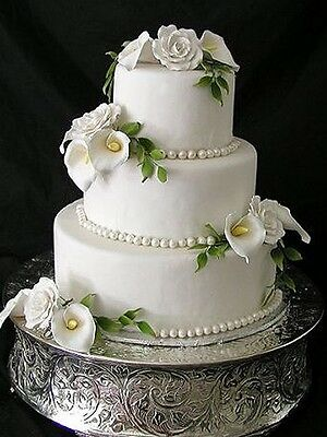 Round Silver Embossed Wedding Party Cake Stand - 3 Sizes Available!