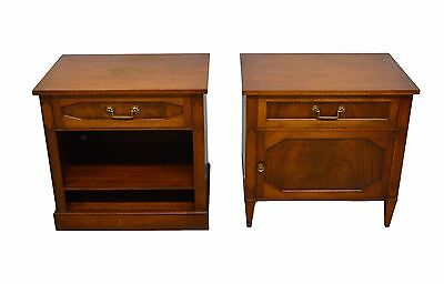 Pair Schmieg & Kotzian Regency Style Flame Mahogany Nightstands Bedside Tables