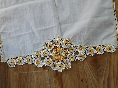 """Vintage LINEN Table RUNNER With YELLOW Crotchet Edges ROSETTES 48"""" x 17 1/2"""""""