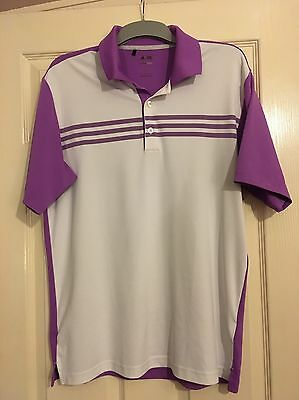Adidas ClimaCool White And Purple Golf Polo Shirt Large