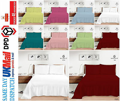 Luxury 100% Cotton&Poly Flat Sheets Single, Double, King Pillow Cover