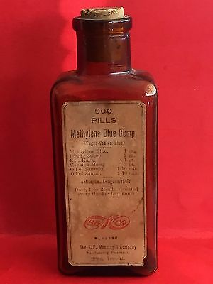 VINTAGE BROWN GLASS BOTTLE WITH CORK Medicine Apothecary Gonorrhea treatment