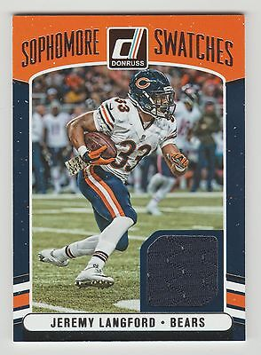 2016 Donruss Jeremy Langford Player Worn Jersey Sophomore Swatches CHICAGO BEARS