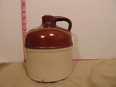 """Two Tone 8"""" Stoneware Whiskey Jug Crock With Handle And Modern Cork"""