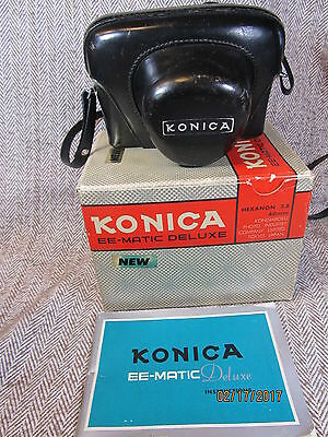 Vintage Konica Ee-Matic Camera In Case With Original Box & Instruction Book