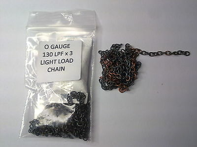 O Gauge scale wagon LIGHT LOAD CHAIN 3 x 130 chain links per foot ( 3+Ft ~ 1m )