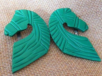 Art Deco 1930s Pair Heavily Carved Green Horse Head Clips Equestrian Bridal Shoe