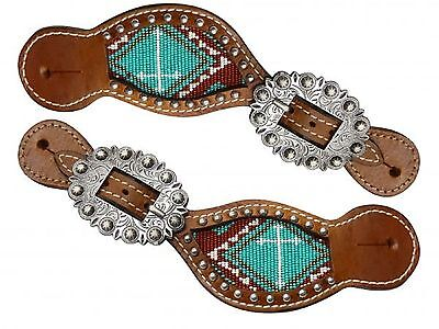Leather Ladies Western Spur Straps TEAL & Brown Beaded Cross Design New