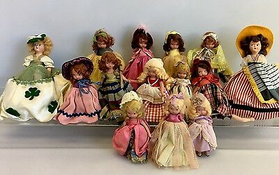 Vintage Nancy Ann Storybook Bisque Doll Lot 14 Dolls in Beautiful Dresses