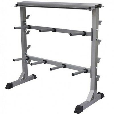Dumbbell Rack Stand 2 Tier Weight Barbell Holder Home Gym Storage Equipment