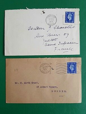 GB 1937 GVI  2 1/2d on plain FDC - Dundee postmark with cover to France