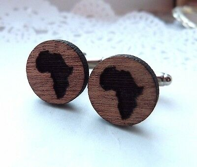 Africa Silhouette Continent Map Wood Wooden Cufflinks Winter  Silver Plated