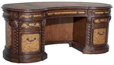Magnificent Kidney Leather Top Pine/Burl Executive Office Desk,76.5'' x 31.5''H.