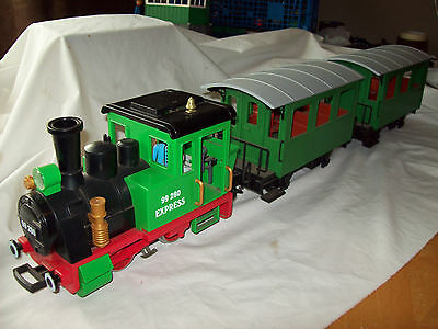 LGB Playmobil 4005 Green Express Loco G Gauge with 2 Marklin Coaches