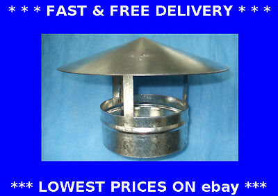 Roof cowl, ducting, chimney flue, solid fuel, gas heating, galv., economy price