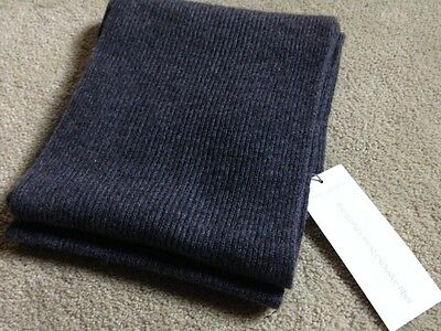 Beautiful New 100% Pure Cashmere Charcoal Heather Gray Ribbed Scarf.