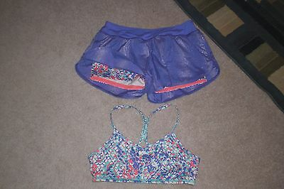 Lot of Girls Ivivva by Lululemon Shorts and Work Out Bra sz 14