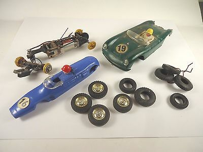 LOT OF ASSORTED PARTS & PIECES for TRI-ANG SCALEXTRIC 1/32 scale cars from 1960s