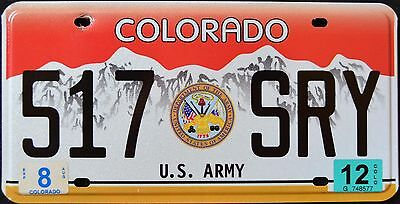 "COLORADO "" U.S. ARMY - SEAL - 517 SRY "" 2012 CO Military Graphic License Plate"