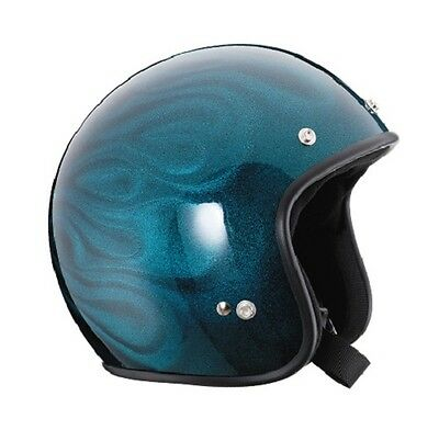 M Metallic Blue 3D Flame Challenger 'CLASSIC' Open Face  Helmet  RXT AS1698