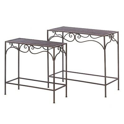 Set of 2 Indoor Outdoor Wicker Side Table Plant Stand Hall Tables