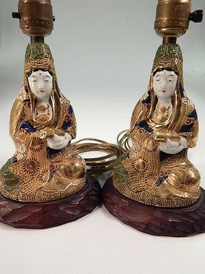 Vintage Guan Yin Kwan-Yin Boddhisattva Hand-Painted Gilded Lamps