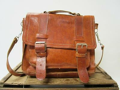 VINTAGE Antique Tan Distressed Leather Messenger Portfolio Satchel Laptop Bag