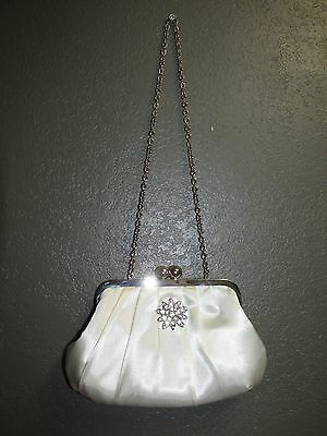 Wedding White Purse Bag Bridal Prom Evening Satin Rhinestone Emebellishmen Bride