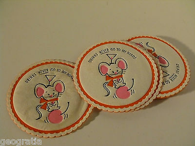 Vintage Paper 50's Diner Style Tiny Mouse on Cherry Drink Coasters Set of 10