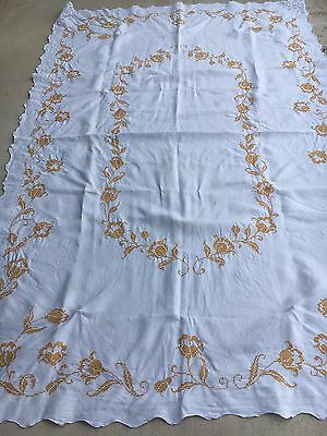 Large Vintage Hand Embroidered Linen Tablecloth 66 X 96