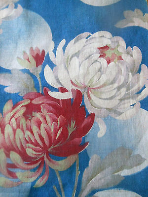 Antique French Art Deco Mum Floral Fabric ~ Cobalt Blue Raspberry