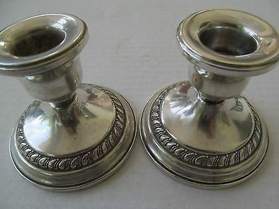 Vintage 1900-1940 Weighted STERLING SILVER Columbia CANDLESTICK Holders
