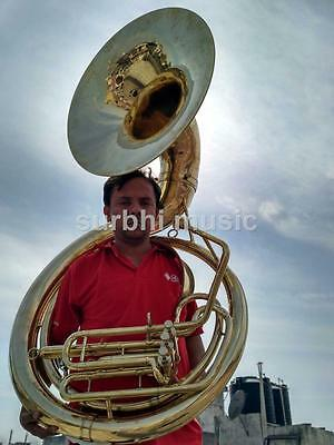 """Sousaphone Big Jumbo Size 25"""" in Gold Lacquer Brass Made With Mouth Pc& Case Box"""