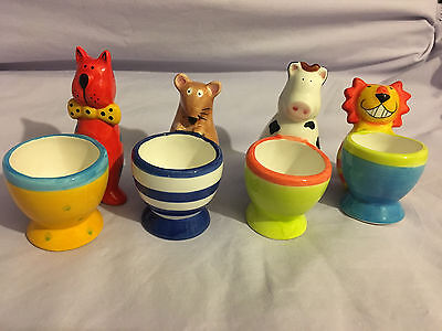 China Egg Cups - Set of 4 - Very unusual colourful collection of novelty animals