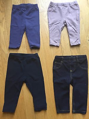 Lot of 4 Baby Girl Pants Leggings Jeans Size 3, 6, 9 Months Baby Gap