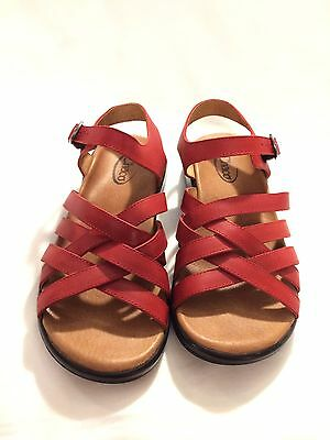 Chaco Red Leather Sandals Womens Size US 8 Buckle Strappy Shoes