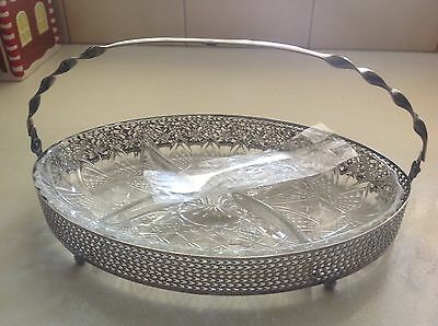 Glass Cake Dish In Silver Holder And Handle