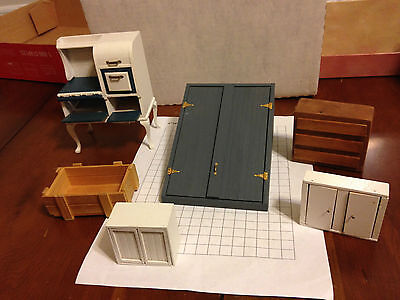 Lot Dollhouse miniature cellar door old fashion stove wood white cupboards